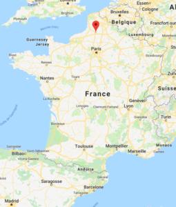 Carte de la France avec Amiens