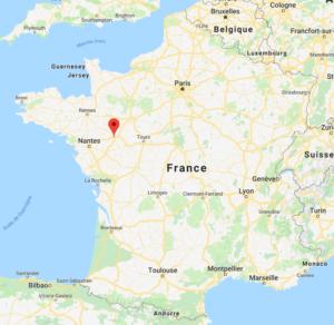 Angers sur la carte de France