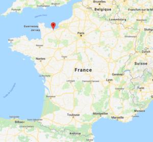 Caen sur la carte de France