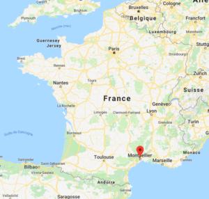 Montpellier sur une carte