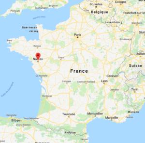 Nantes sur la carte de France