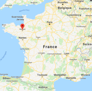 Rennes sur la carte de France