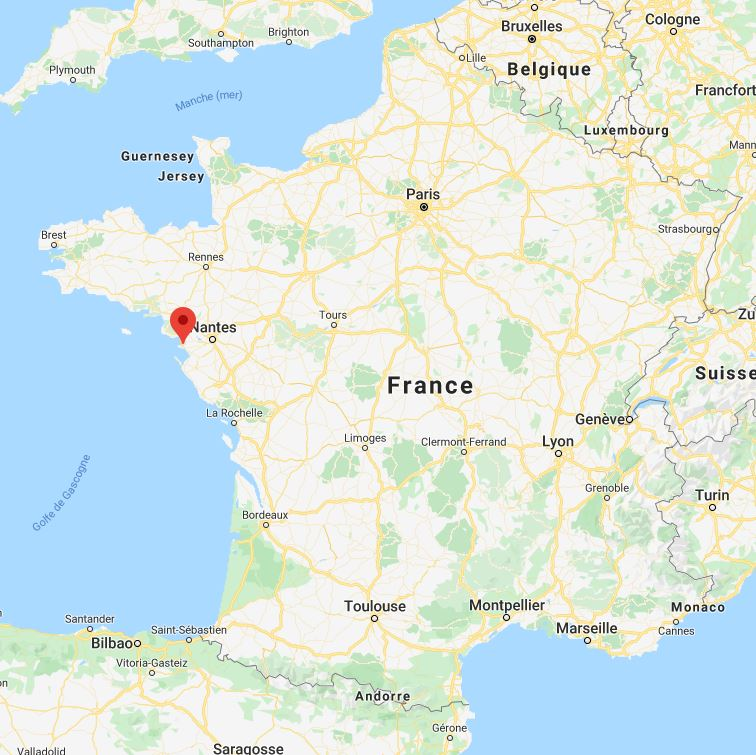 Pornic sur la carte de france